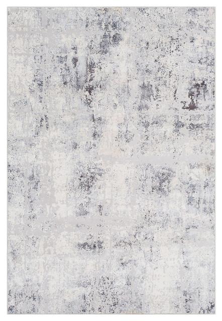 Genesis Modern Silver Gray White Area Rug Contemporary Area