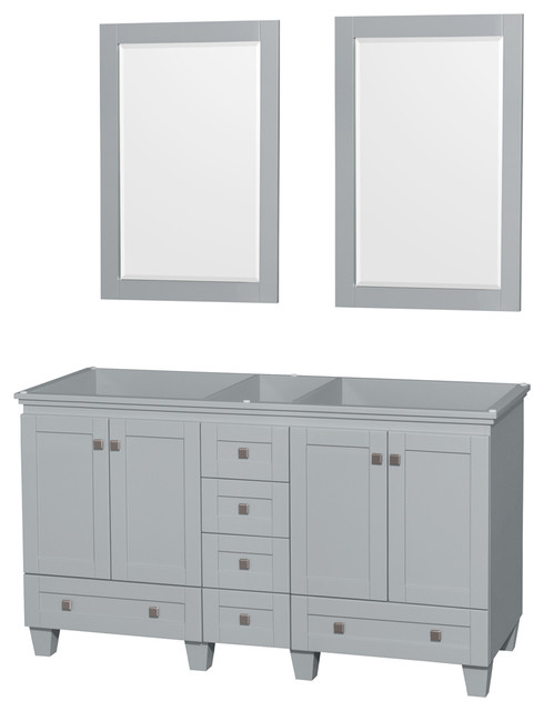 """Acclaim Oyster Gray Double Vanity, 24"""" Mirrors, 60"""", No Countertop, No Sink."""