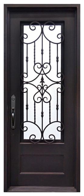 """Estrella 39""""x81"""" Wrought Iron Door, 6"""" Jamb, Aged Bronze Patina, Aged Bronze Pat."""