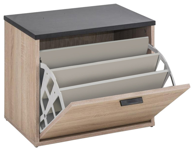 Lucky Shoe Cabinet, Natural Oak and Black