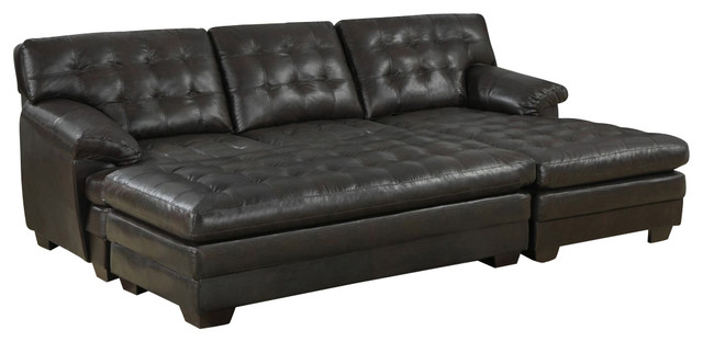 Homelegance Brooks 3 Piece Sectional Sofa In Rich Dark Brown Leather