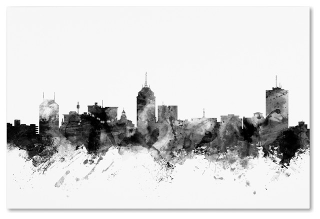 Michael Tompsett Fresno California Skyline B Amp W Canvas