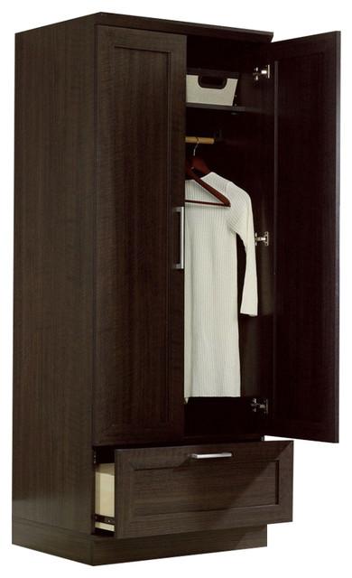 Bedroom Wardrobe Armoire Cabinet, Dark Brown Oak Wood ...