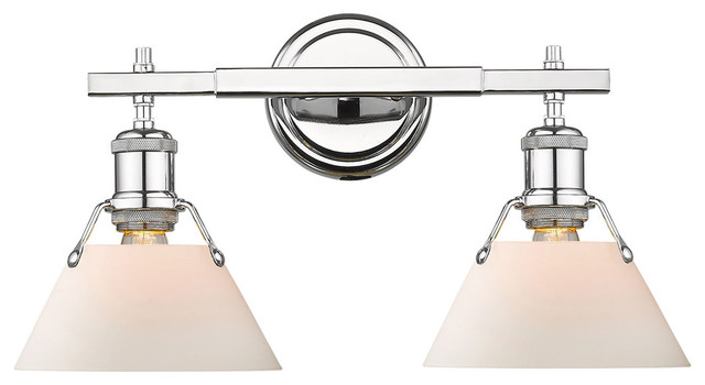 Orwell CH 2-Light Bath Vanity, Chrome With Opal Glass Shade