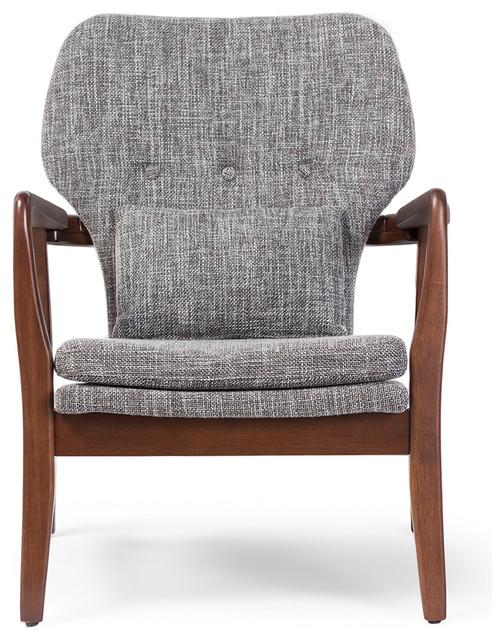Ordinaire Rundell Gray Fabric Upholstered Leisure Accent Chair In Walnut Wood Frame