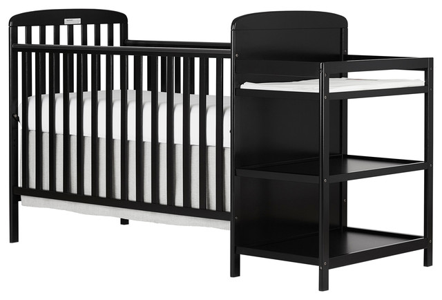 Dream On Me, Anna 4 in 1 Crib and Changing Table Combo, Black