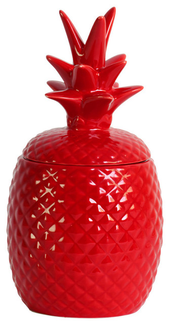 Ceramic Pineapple Canister, Red Tropical Kitchen Canisters And Jars