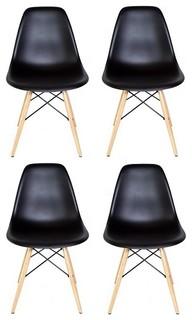 Set of 4 DSW Black Mid Century Modern Plastic Dining Shell Chair