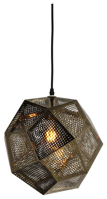 "Cronus 1 Light Pendant, Gold, 12.5""x12.5""."