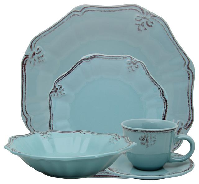Elama Fleur De Lis 20-Piece Dinnerware Set Turquoise  sc 1 st  Houzz & Elama Fleur De Lis 20-Piece Dinnerware Set - Traditional ...