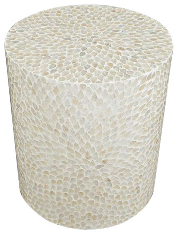 Global Archive Round Capiz Accent Table, Natural.