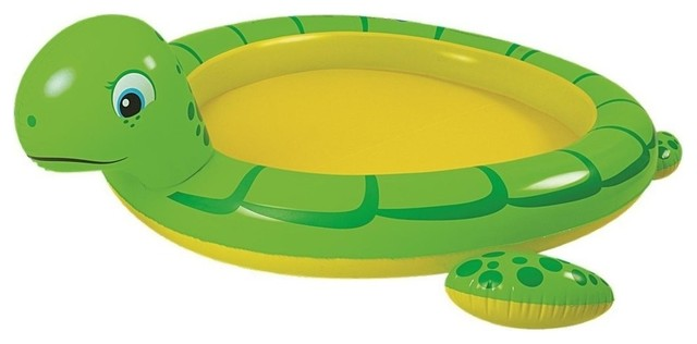 214 Green And Yellow Inflatable Sea Turtle Children&x27;s Spray Pool.