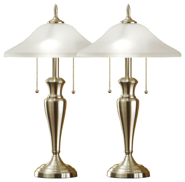 24 Brushed Steel Table Lamps With High Quality Hammered Glass Shades, Set Of 2.