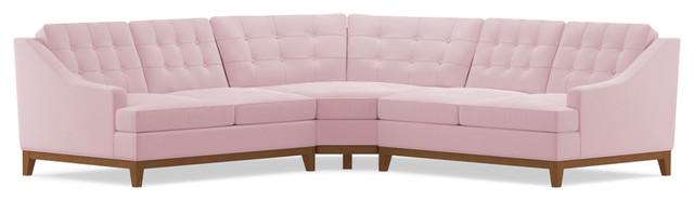 Bannister 3-Piece Sectional Sofa, Blush Velvet