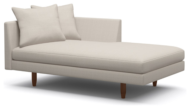 """Crowd Pleaser Chaise, Dove, Walnut, 63"""", Right Facing."""