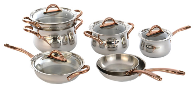 11-Piece Ouro Cookware Set Rose Gold Handles And Glass Lids.