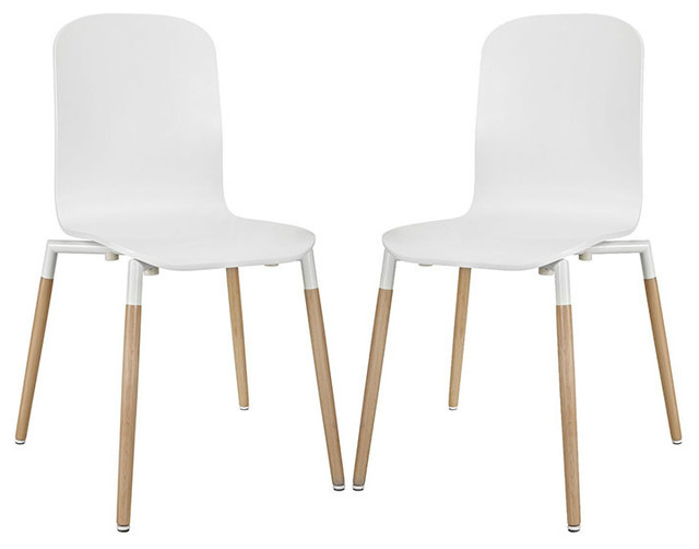 Modway Wood Stack Dining Chairs, Set Of 2, White.