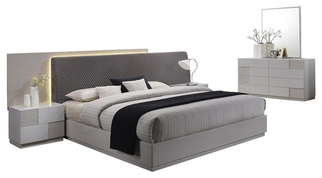 Naple, Silver Line Gray 5-Piece Modern Platform Bedroom Set, Cal King