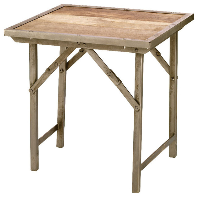 Campaign Folding Side Table, Natural Wood