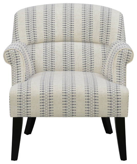 Surprising Roll Arm Cream Accent Chair With Blue Patterned Stripes Machost Co Dining Chair Design Ideas Machostcouk