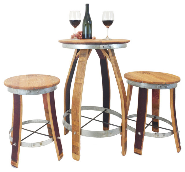 Brilliant Wine Barrel Pub Set With Swivel Top Stools Gmtry Best Dining Table And Chair Ideas Images Gmtryco