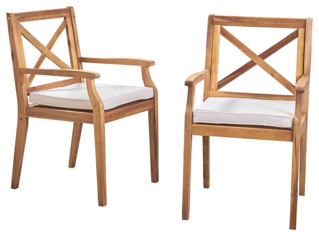 Admirable Gdf Studio Peter Outdoor Acacia Wood Dining Chair Teak Cream Cushion Set Of 2 Lamtechconsult Wood Chair Design Ideas Lamtechconsultcom