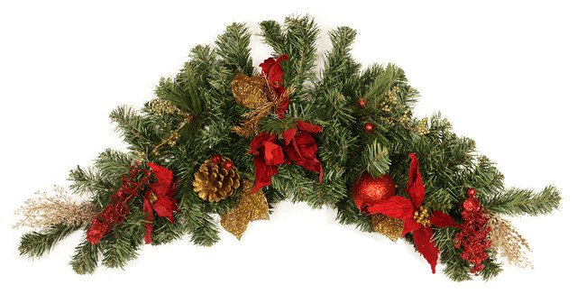 Pine Red Poinsettia Eucalyptus And Gold Pine Cone Christmas Swag 36