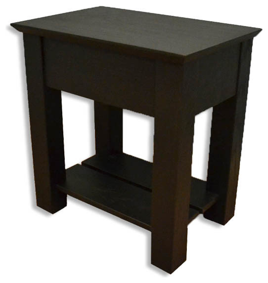 Secret Compartment Nightstand, Shaker, Black Oak, Without Drawer Handle