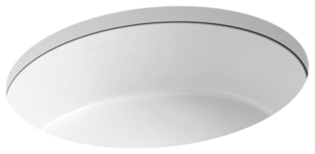 Kohler Verticyl Oval Under-Mount Bathroom Sink, White.