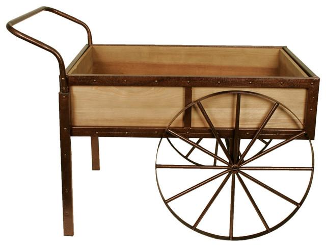 Weathered Pine Wheelbarrow Display Cart.