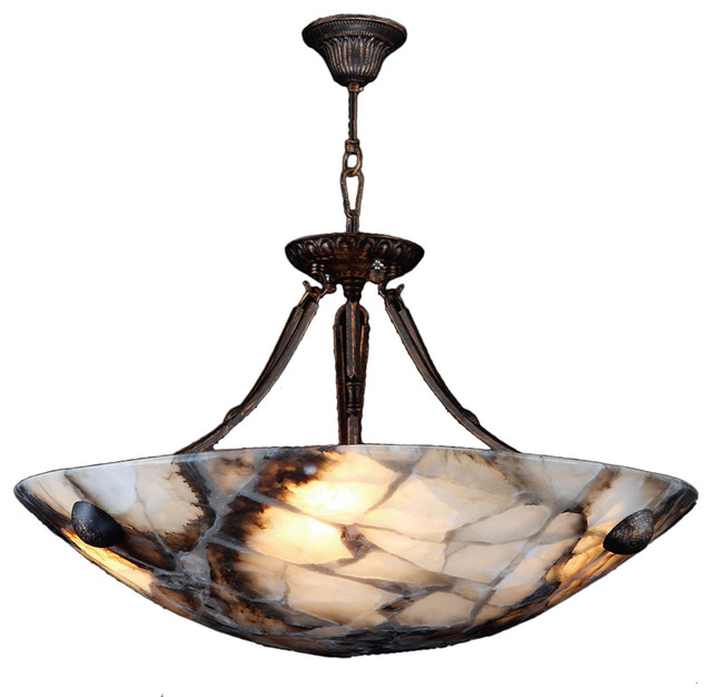 Pompeii 4-Light Flemish Brass Finish Natural Quartz Stone Bowl Pendant 24  Round traditional  sc 1 st  Houzz & Pompeii 4-Light Flemish Brass Finish Natural Quartz Stone Bowl ... azcodes.com