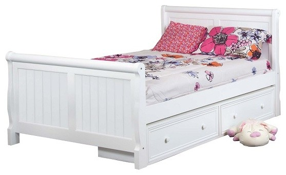 Beatrice White Full Size Sleigh Bed With Storage Drawers