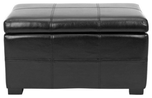 Safavieh Lucas Bicast Leather Storage Bench in Black