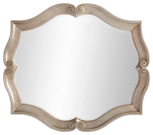 Juniper Dell Scalloped Mirror, Tarnished Silver Leaf.