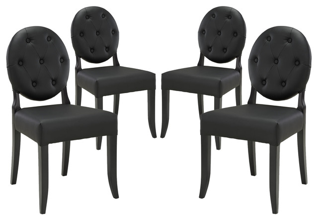 Button Dining Side Chair Faux Leather Set of 4, Black