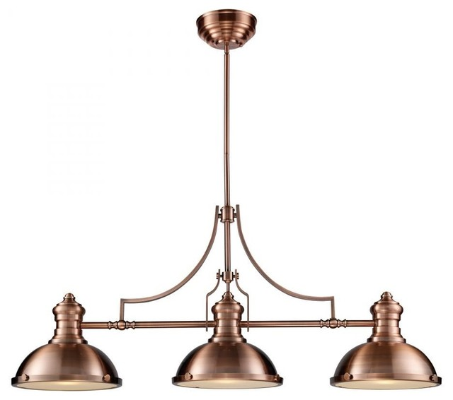 ELK Lighting Chadwick 3-Light Billiard, Antique Copper
