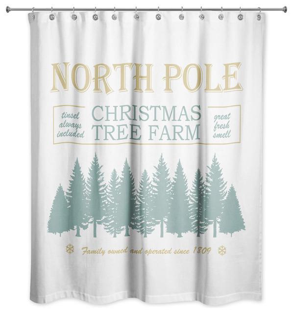 North Pole Christmas Tree Shower Curtain 71x74