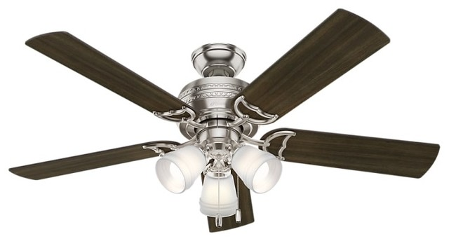 """Prim 52"""" 5 Blade Led Ceiling Fan With Led Light Kit Included, Brushed Nickel"""