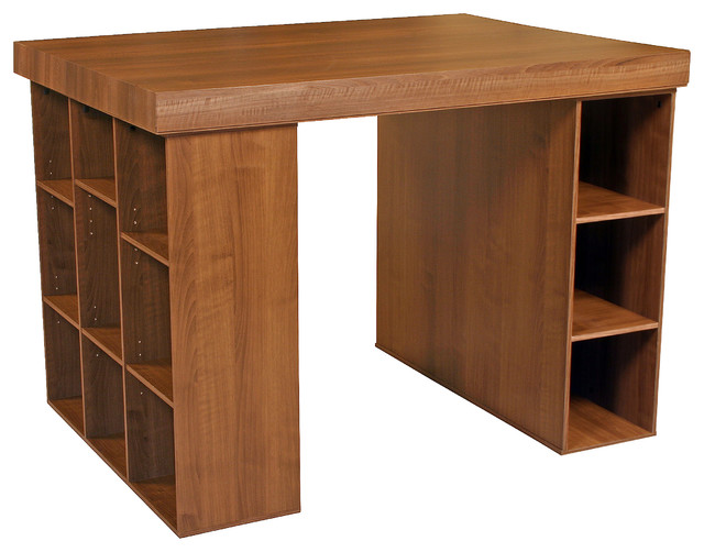 Academy Craft Table With Bookcase And Shelving, Walnut.