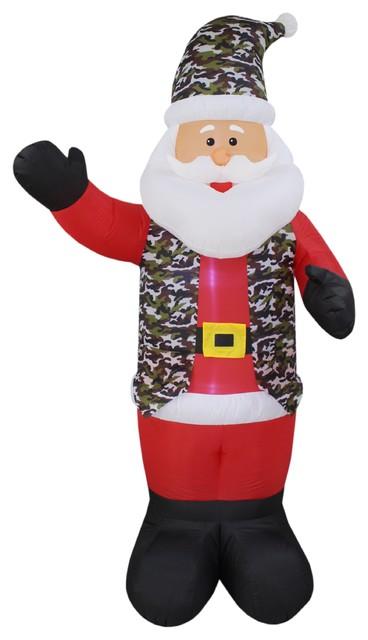 Christmas Inflatable Camo Dress Uniform Santa, 8'