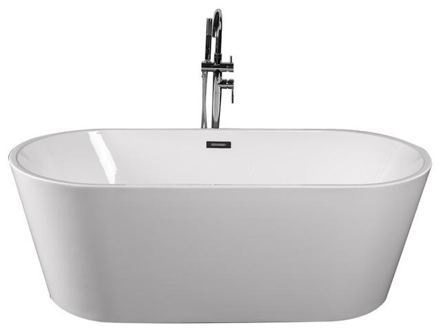 "Empava 67"" Modern Freestanding White Acrylic Bathtub"