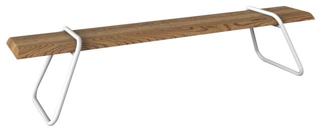 Clipboard Bench, White, Cumaru Wood, Garden Furniture