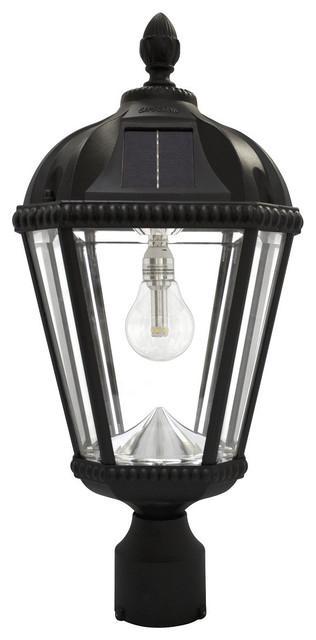 """Royal Solar Light, With GS Solar LED Light Bulb, 3"""" Fitter, Black"""