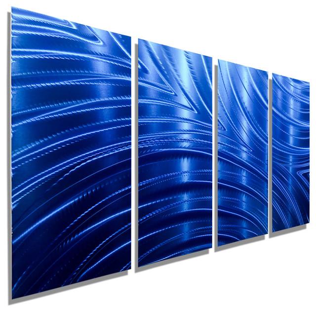 charming Jon Allen Wall Art Part - 11: Blue Abstract Metal Wall Art Sculpture by Jon Allen, Blue Synchronicity 4P