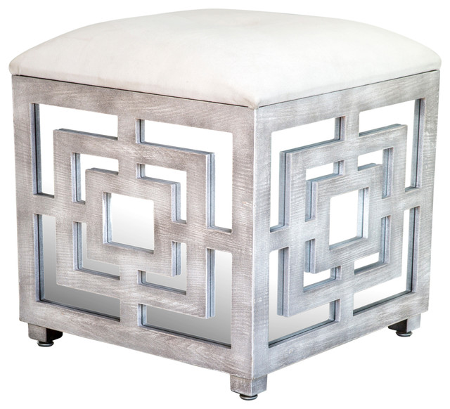 Reena Mirrored Ottoman Contemporary Footstools And