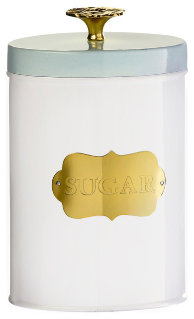 Colette White Mint Gold Canisters, Medium Sugar