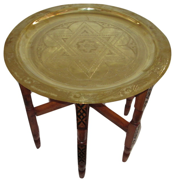Moroccan Engraved Carved Polished Star of David Brass Tray 13""