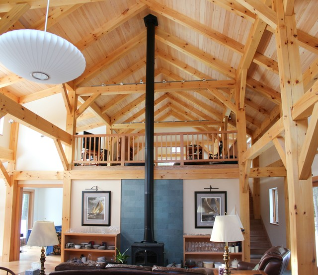 Timber frame great room with loft rustic living room for Timber frame great room