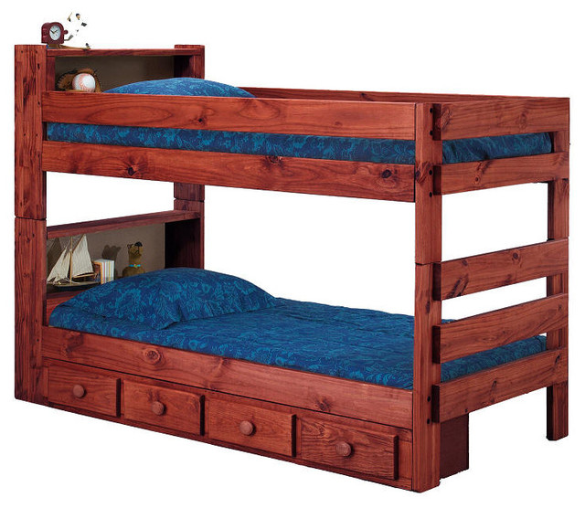 Ameriwood Twin Book Case Bunk Bed With Underbed Storage