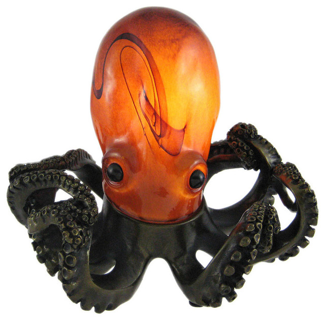 Swirled Amber Glass Octopus Accent Lamp Bronzed Base Traditional Table Lamps